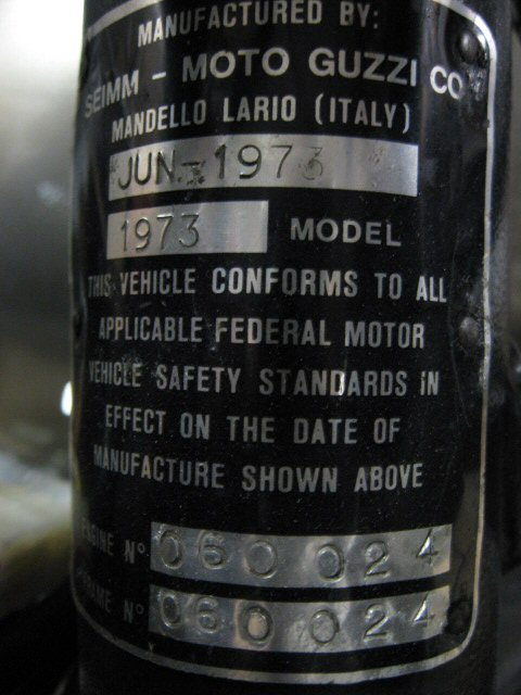 Model Identification Frame And Engine Numbers Special