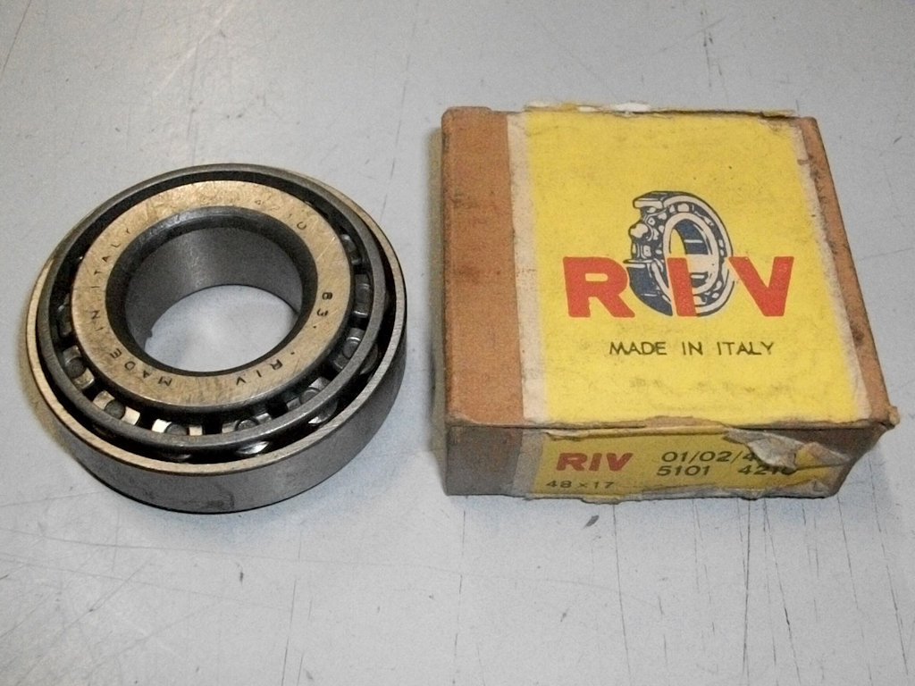 Original RIV 01-02-4210 Wheel bearing used on the two leading shoe Moto Guzzi V700, V7 Special, Ambassador, 850 GT, 850 GT California, Eldorado, and 850 California Police models.