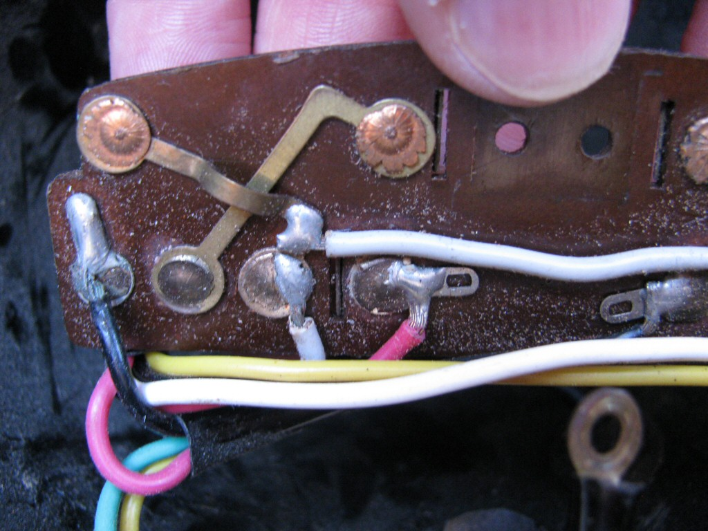 Soldered connections on the back side of the distribution panel, as fit to a Moto Guzzi Astore.