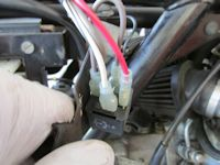 Wiring for the starter relay on a Moto Guzzi V1000 I-Convert.