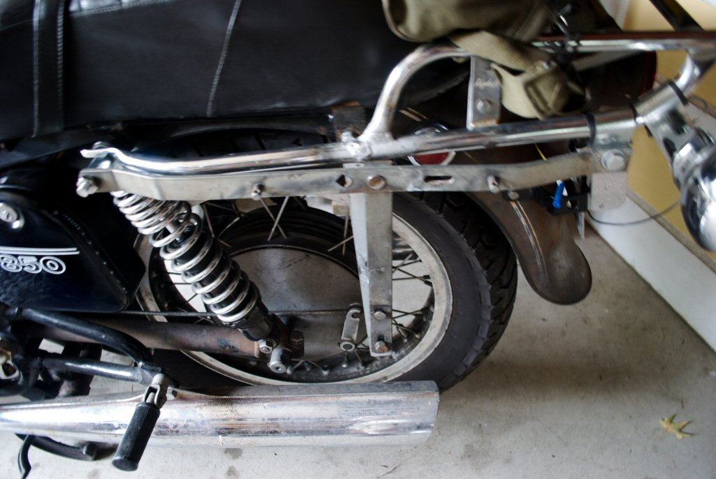 Wixom saddlebag brackets from a Suzuki adapted to a Moto...