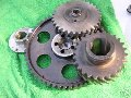 Engine timing cover and gears, Moto Guzzi photo archive of parts
